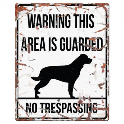 Advarselsskilt med Rottweiler i vintage design fra Arthurs Råt & Godt BARF i Hørsholm