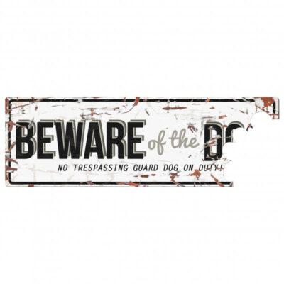 Advarselsskilt med bid af noget af skiltet i vintage design fra Arthurs Råt & Godt BARF i Hørsholm