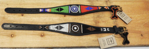 Ægte Afrikansk fremstillet halsbånd med perler. Whippet model med bred overdel. Fra Arthurs Råt & Godt i Hørsholm