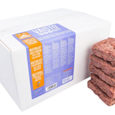 Hvalpefoder fra MUSH i 10kg kasser. Arthurs Barf i Hørsholm