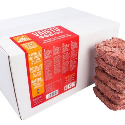 Voksen foder fra MUSH i 10kg kasser. Arthurs Barf i Hørsholm