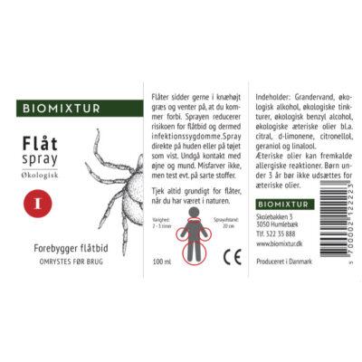 Økologisk flåtspray reducerer risikoen for flåtbid og dermed risikoen for borrelia og andre alvorlige infektionssygdomme. Sprayen er let at bruge. Du kan spraye direkte på huden eller på tøjet. Produceret i Danmark.