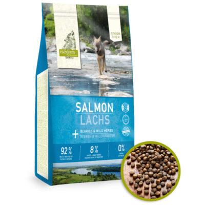 Isegrim River, Junior, Salmon/Laks til voksen hund, 92/8/0 høj mængde kød, med grønsager, helt uden korn fra Arthurs Barf i Hørsholm